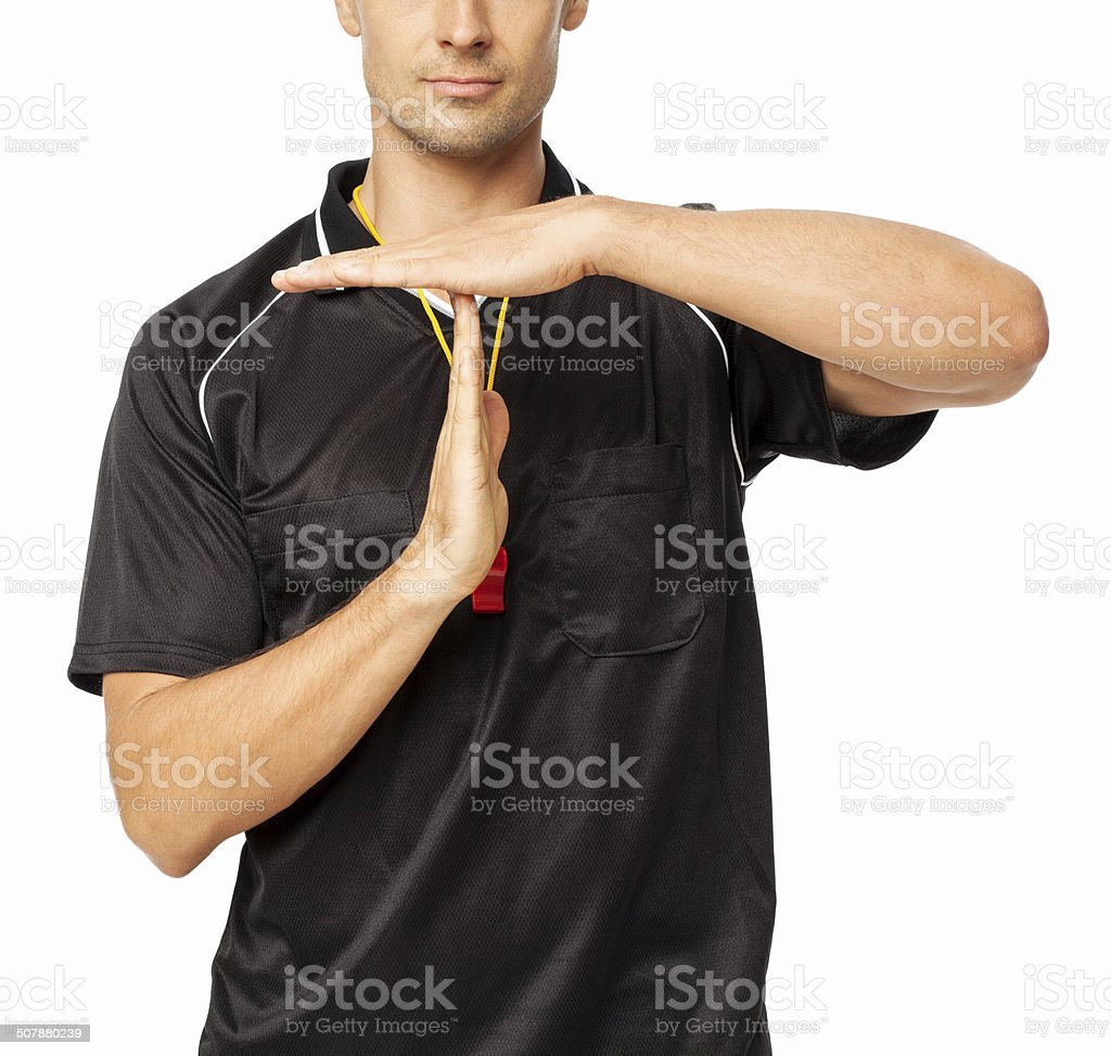 Soccer Referee Showing Time Out Signal stock photo