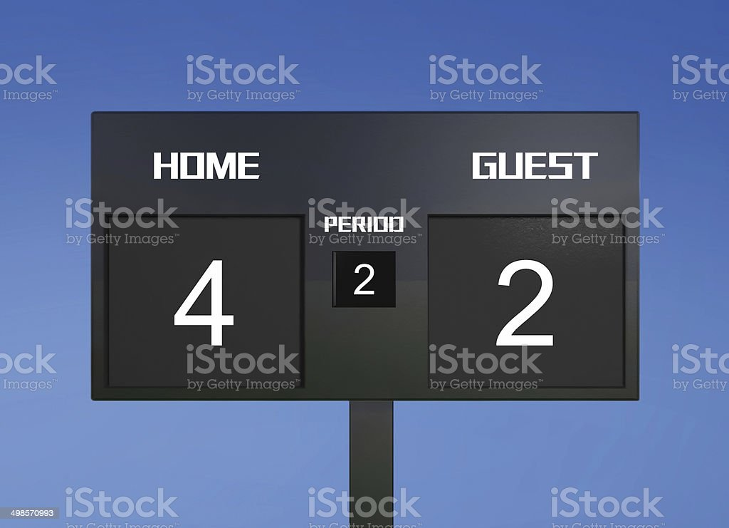 soccer scoreboard score 4 & 2 stock photo