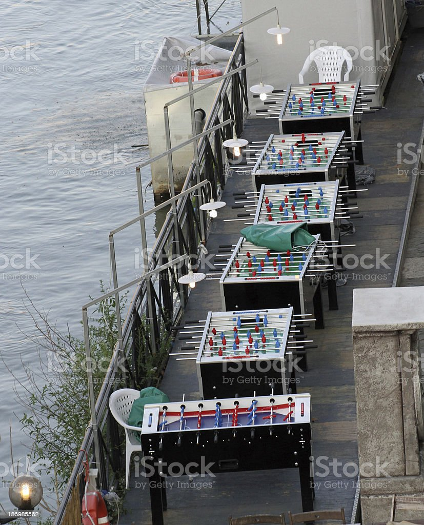 soccer series type table football on the lungo tevere stock photo