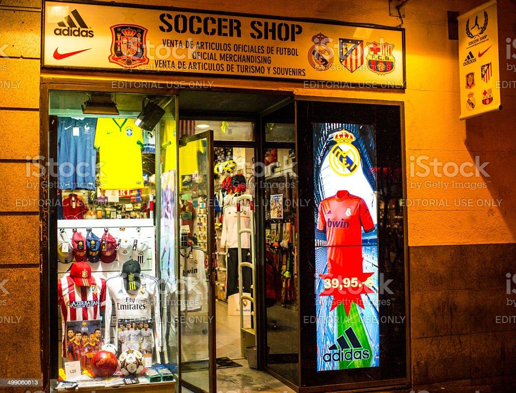 Soccer Shop in Madrid, Spain stock photo