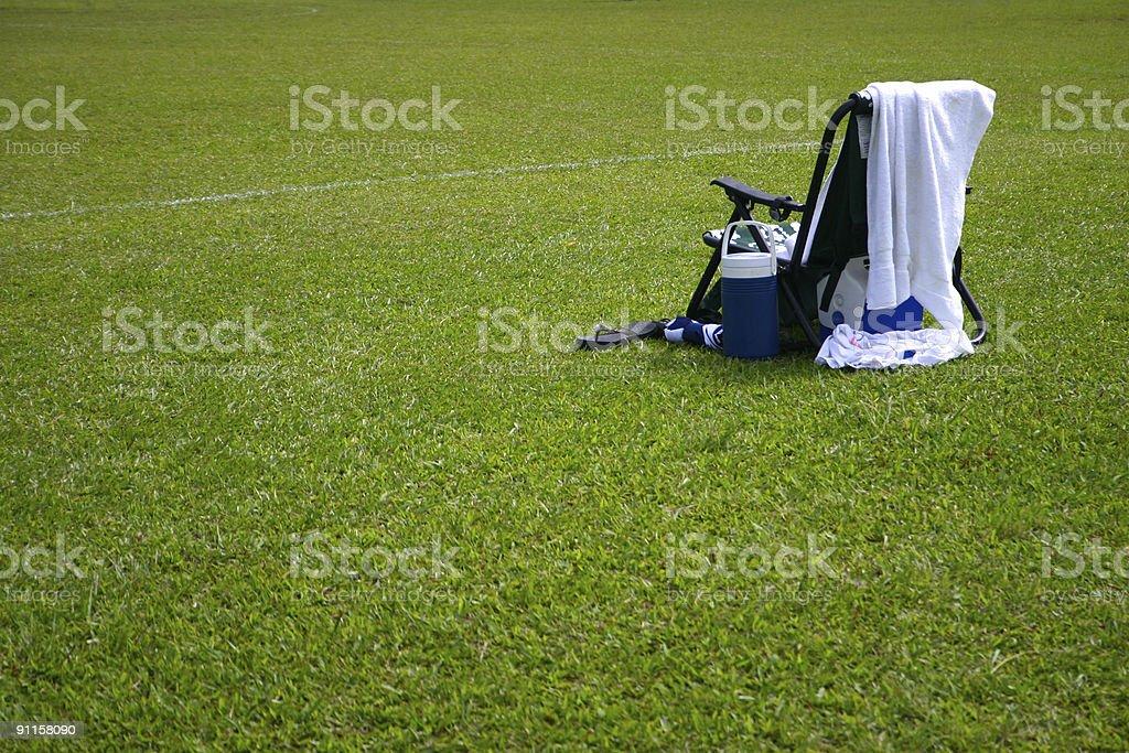 Soccer sideline stock photo
