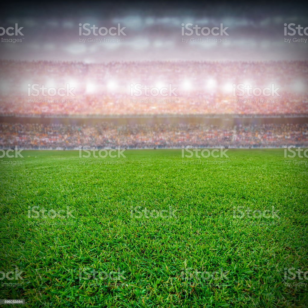 soccer stadium and the supporters background stock photo