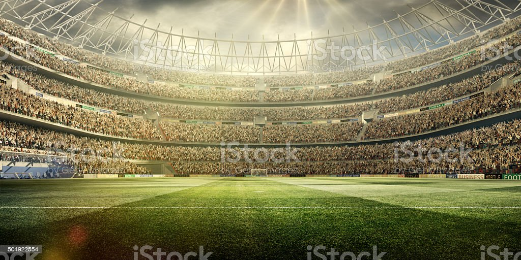 Soccer stadium background wide angle stock photo