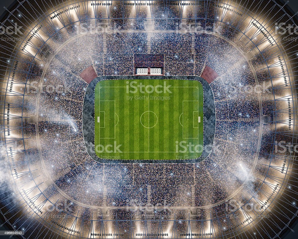 Soccer stadium upper view stock photo