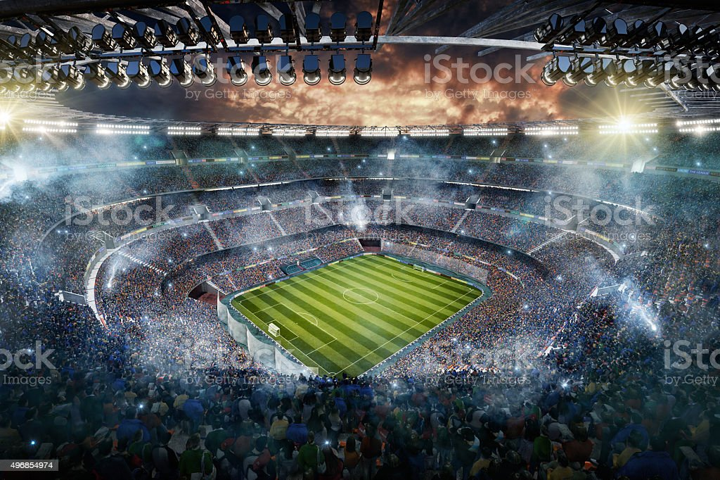 Soccer stadium upper view stock photo
