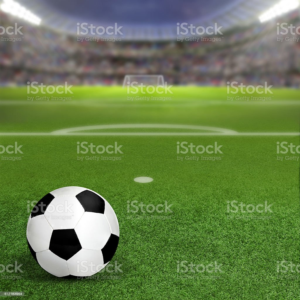 Soccer Stadium With Ball on Field and Copy Space stock photo