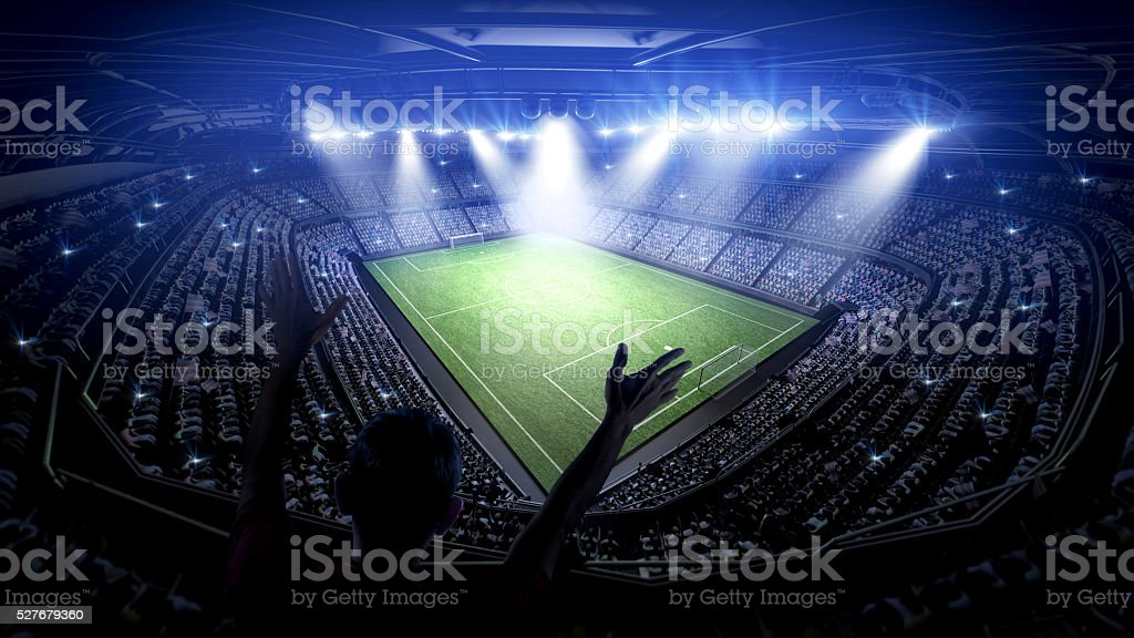 Soccer stadium with fans stock photo