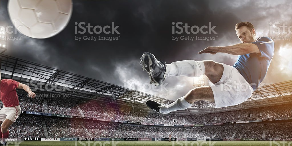 Soccer Superstar Mid Air Kick royalty-free stock photo