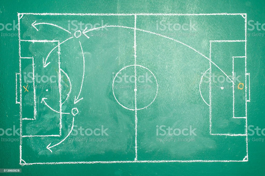 Soccer tactics on board stock photo