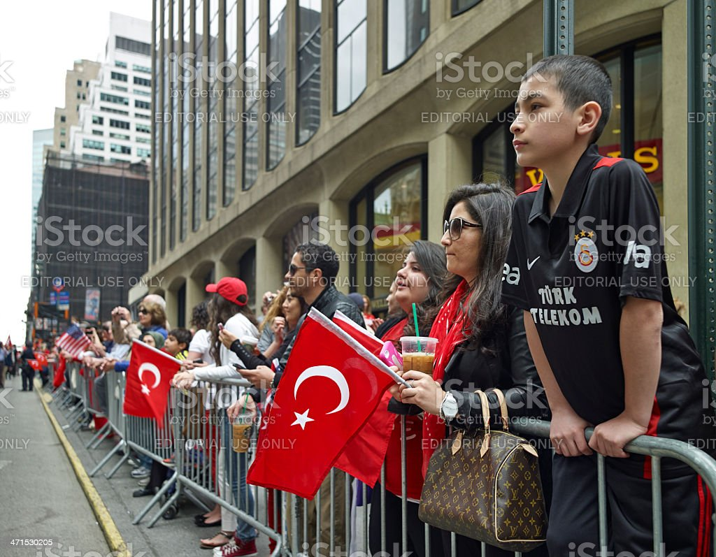 Soccer team fans at Turkish Day Parade stock photo