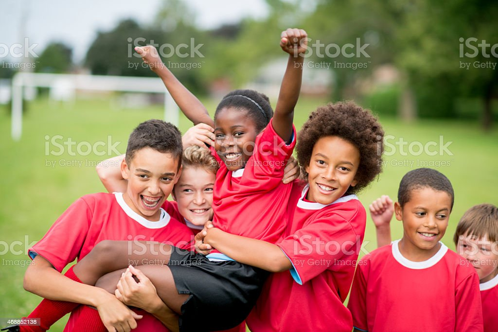 Soccer Team Victory stock photo