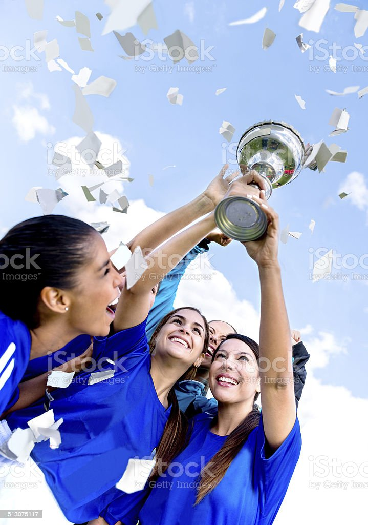 Soccer team winning the cup stock photo