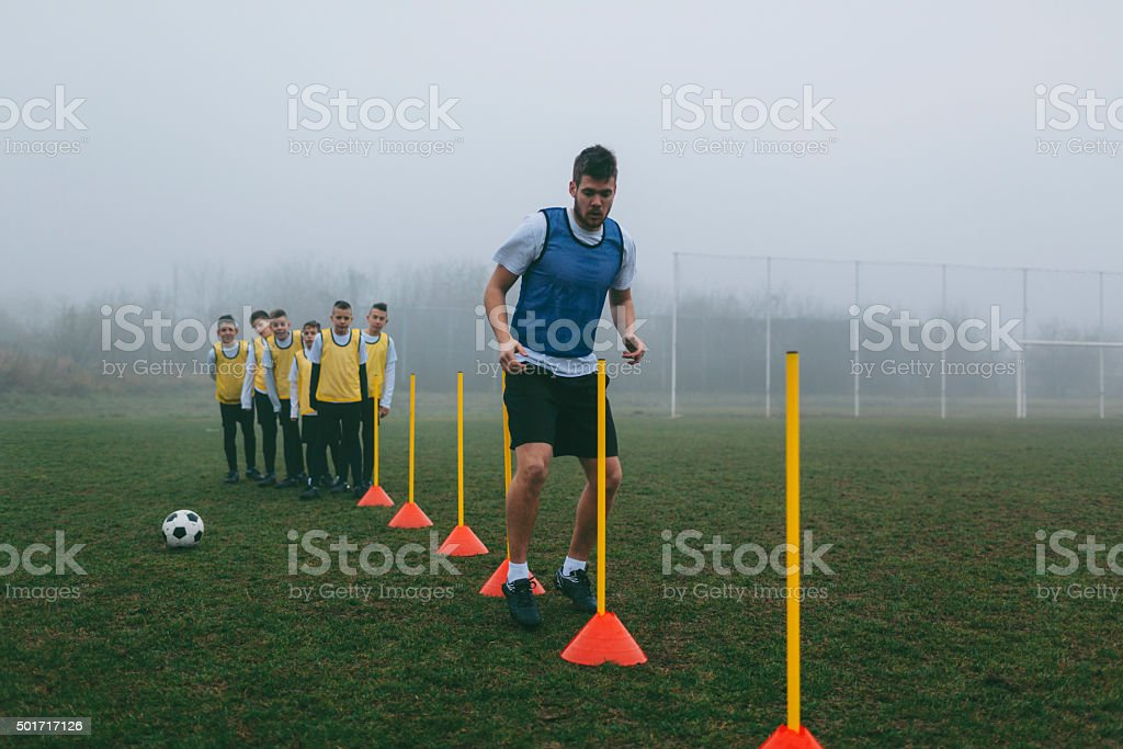 Soccer Training For Kids. stock photo