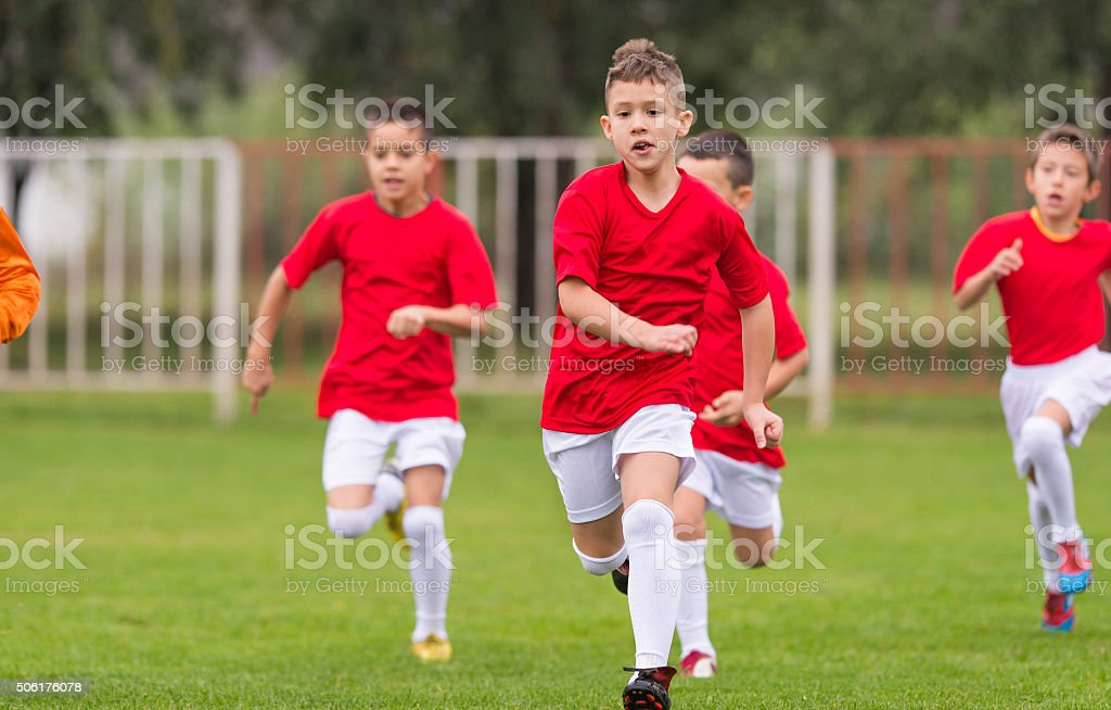 Soccer training for kids stock photo