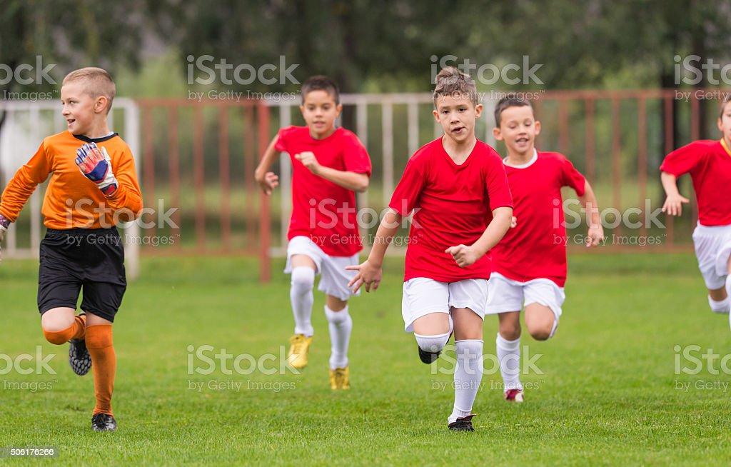 Soccer training for kids stock photo