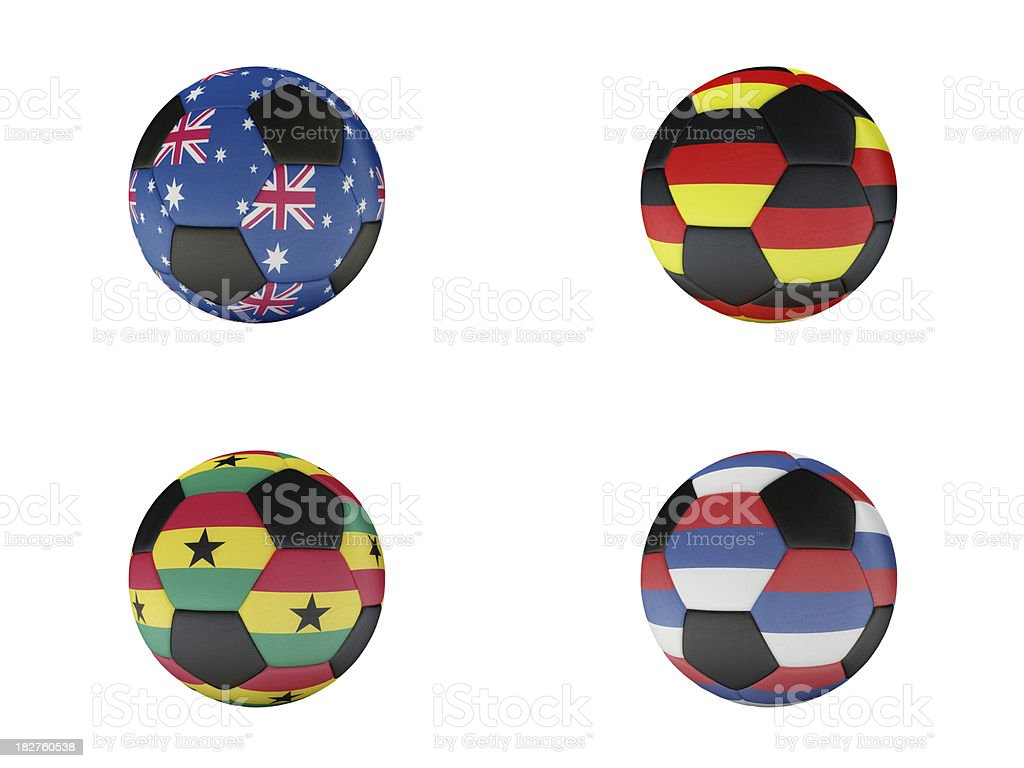 Soccer World Cup Group D balls with flags stock photo