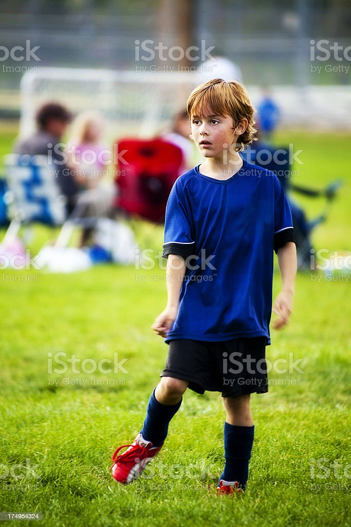 Soccer Young Player Using Body English stock photo