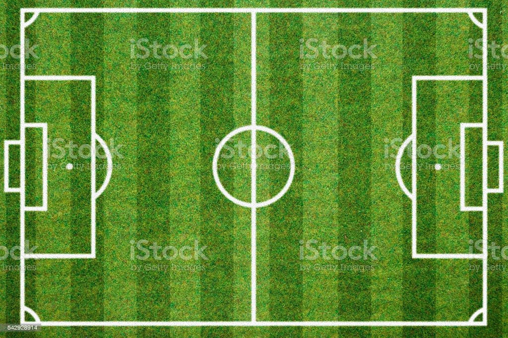 soccerball field green grass background. Flat lay stock photo