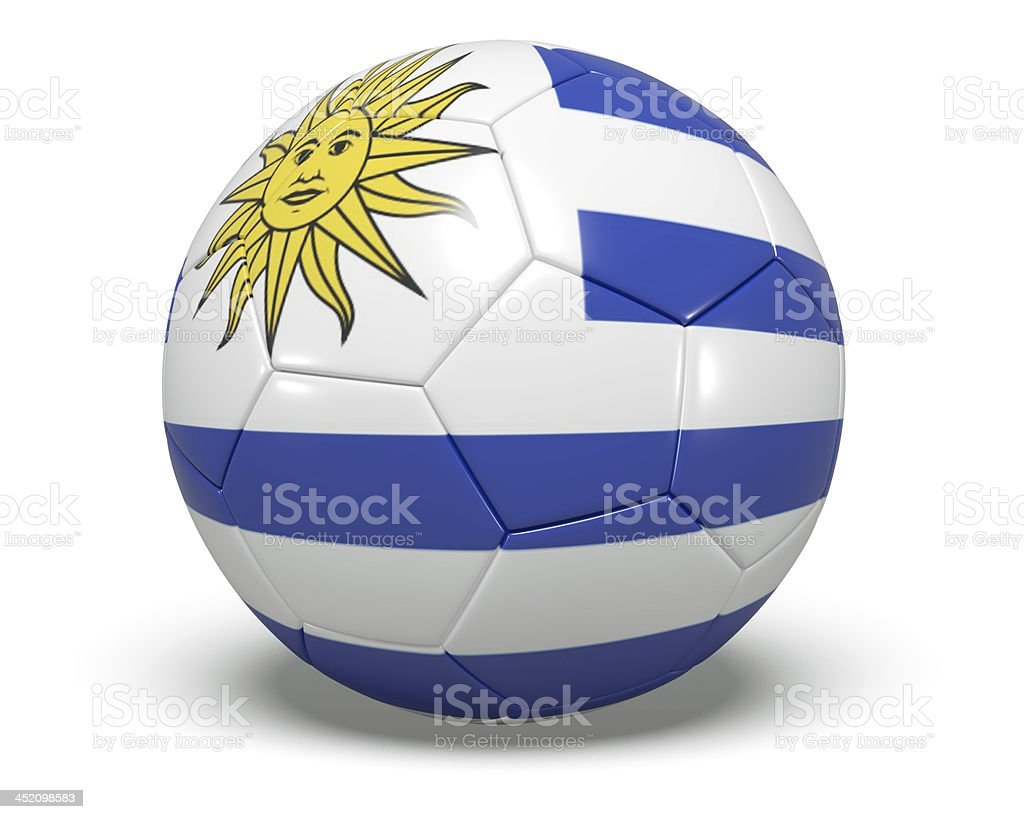 Soccer/football with an Uruguay flag on it. royalty-free stock photo