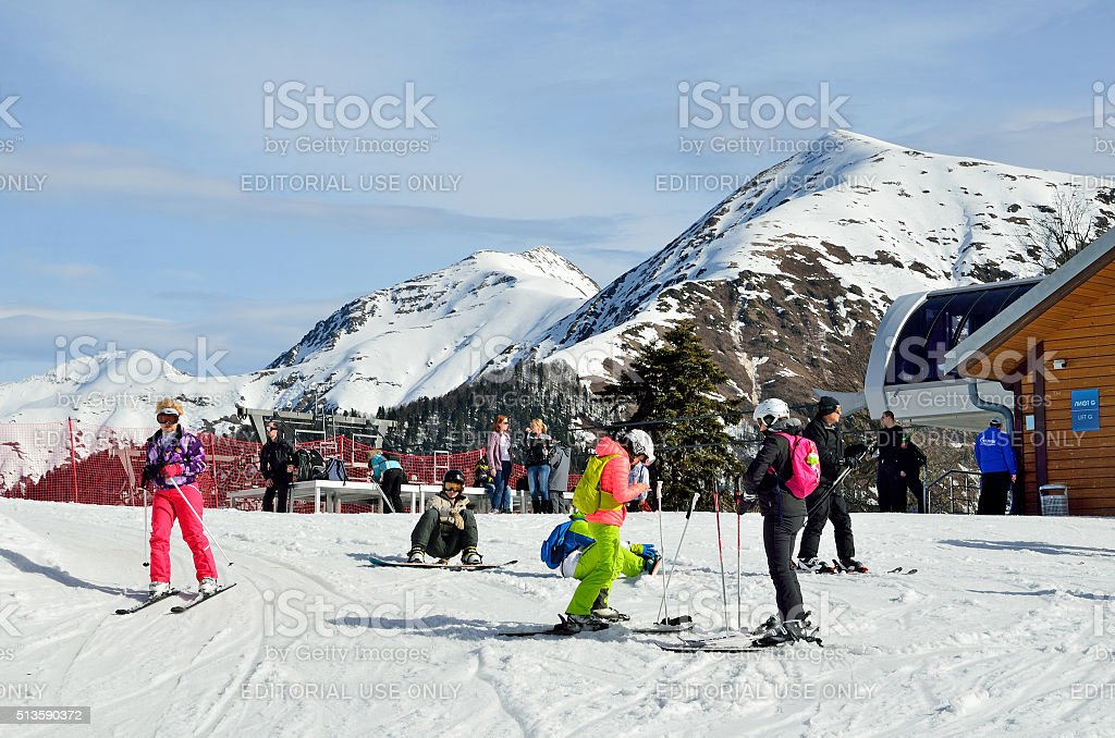 Sochi, people skiing on the slopes at the ski complex 'GAZPROM' stock photo