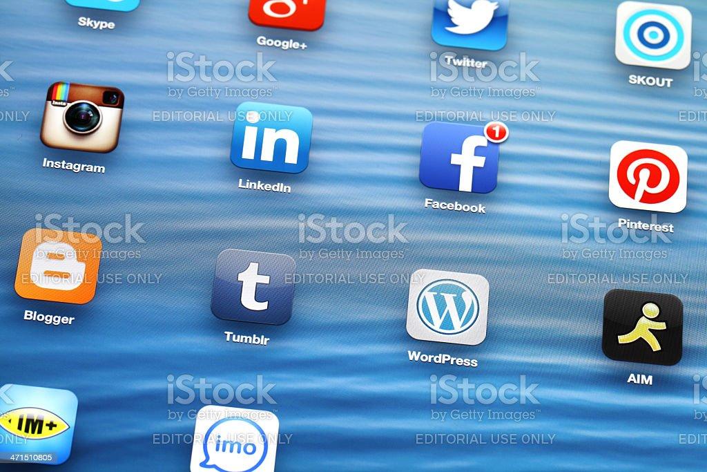 Social app on ipad stock photo
