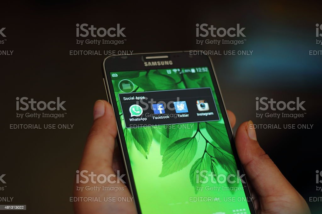Social apps on a samsung smart phone stock photo