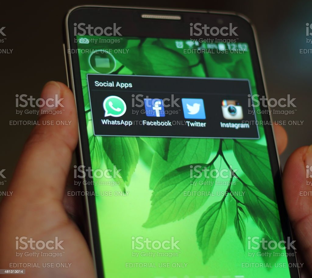 Social Apps on a smart phone stock photo