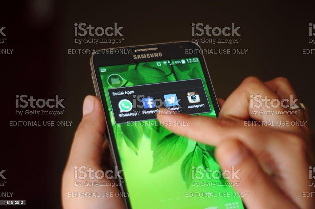 Social Apps on Samsung smart phone stock photo