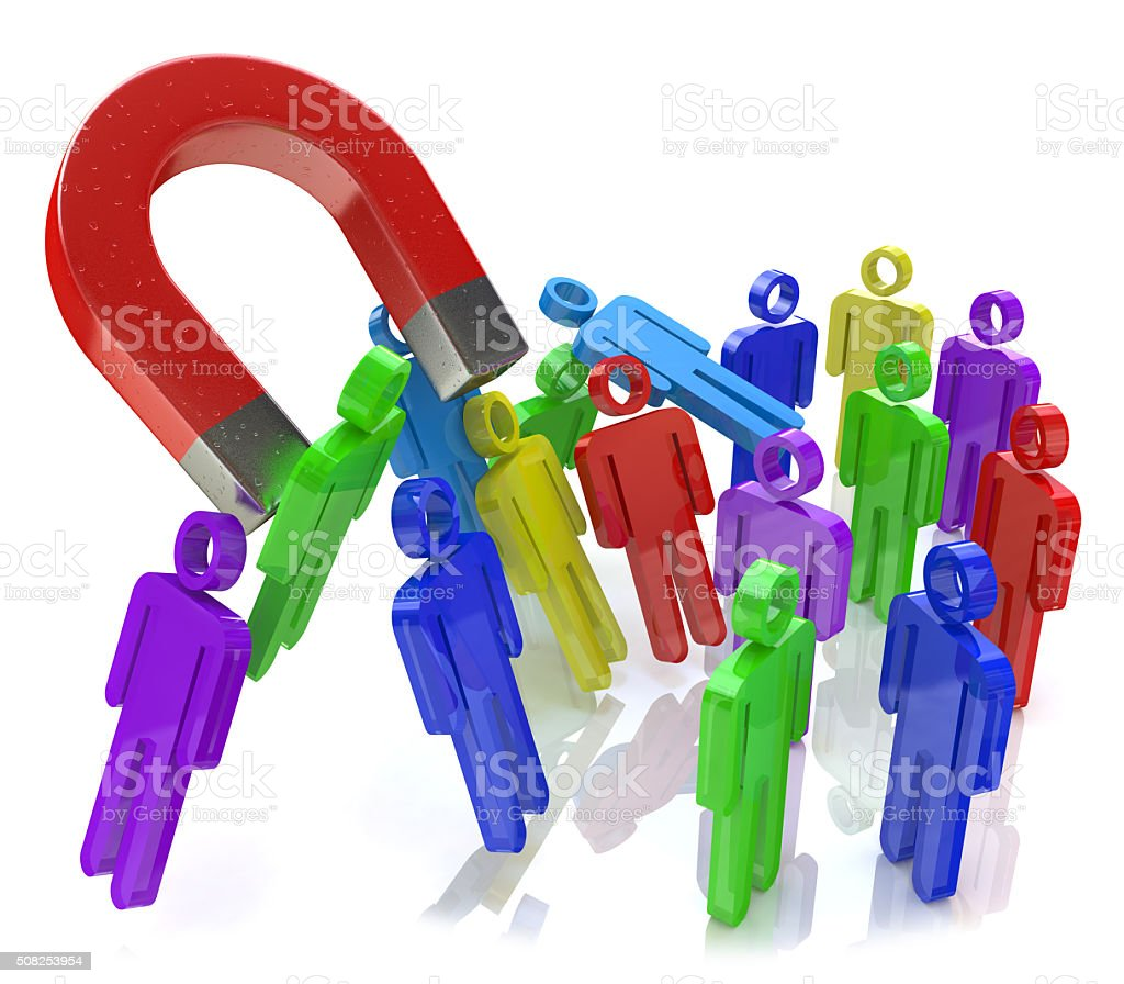 Social engineering concept: horseshoe magnet capturing crowd of stock photo