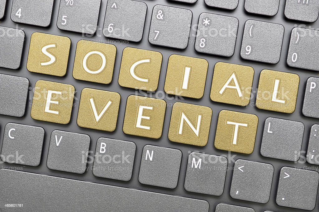 Social event on keyboard royalty-free stock photo