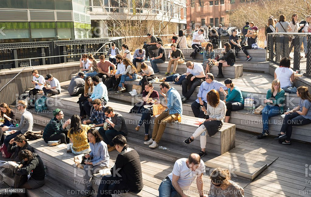 Social gathering on the HighLine Park stock photo