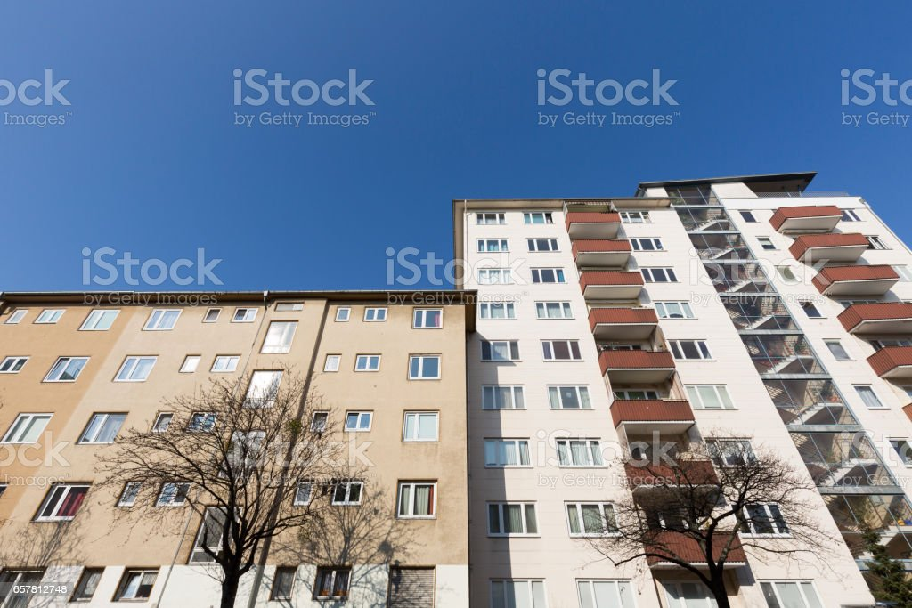 social housing with blue sky in Berlin stock photo