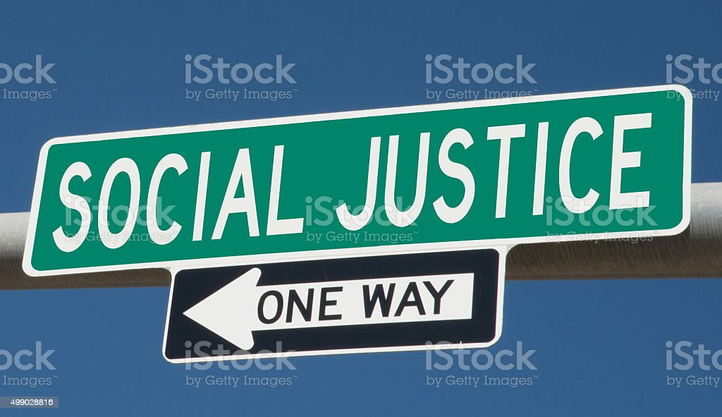 Social Justice highway sign stock photo