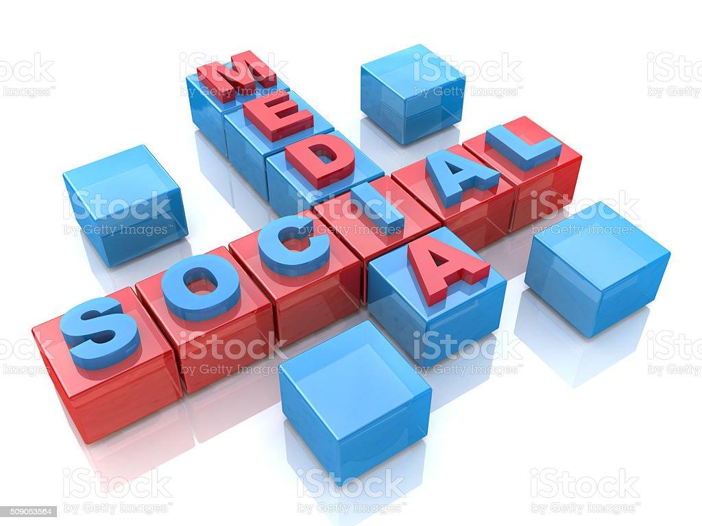 Social media 3D crossword on white background stock photo