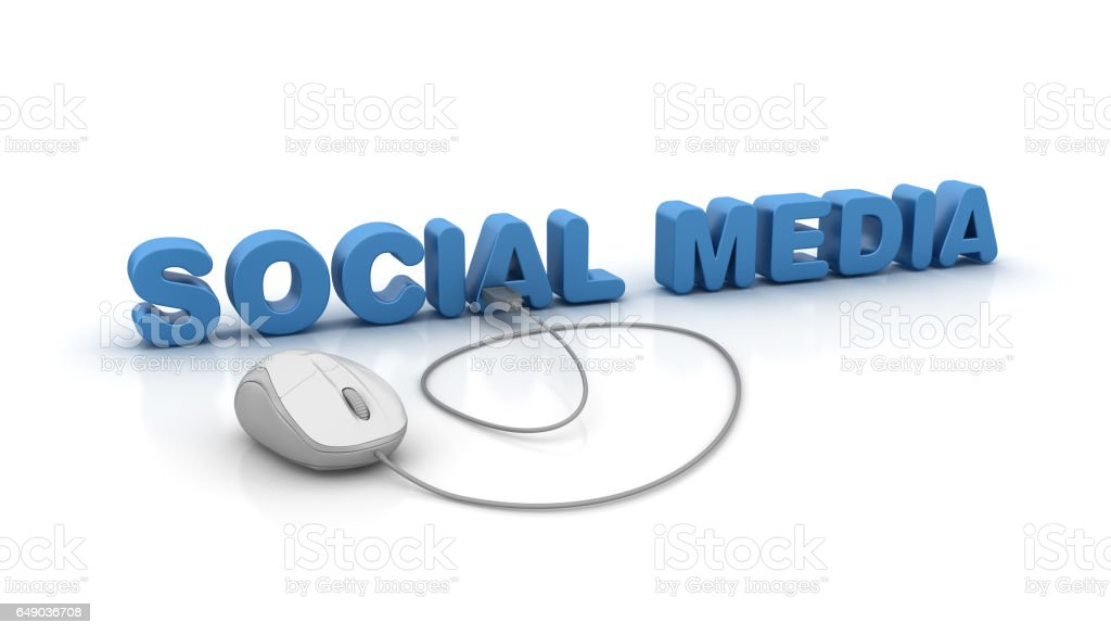 Social Media 3D Word and Computer Mouse - 3D Rendering stock photo