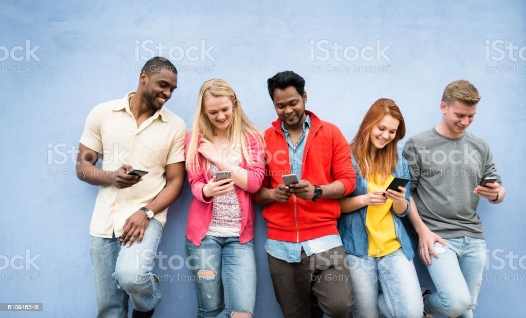 social media addiction people using the smartphone stock photo