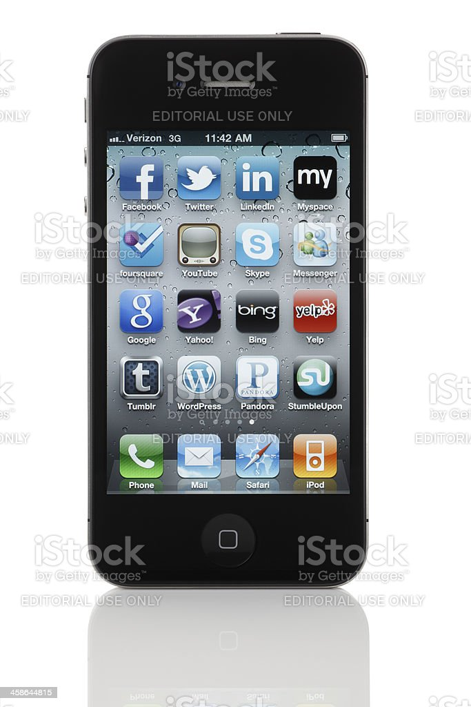 Social Media & Web 2.0 Apps on Apple iPhone 4 stock photo