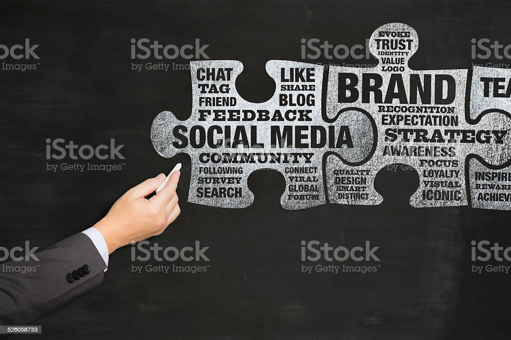 Social media and Brand related text inside jigsaw pieces blackboard stock photo