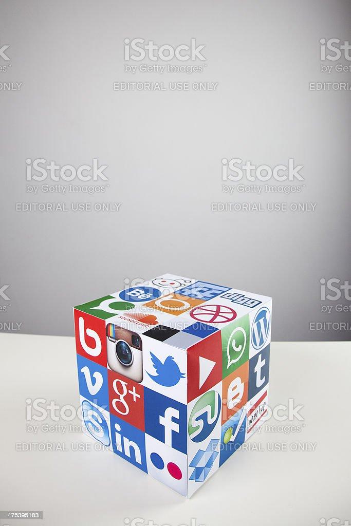 Social media and technology cube stock photo