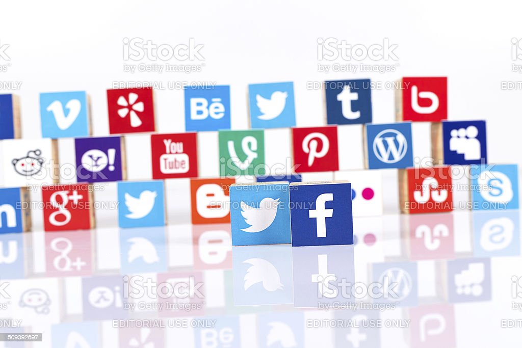 Social Media and Technology Cubes on White Background stock photo