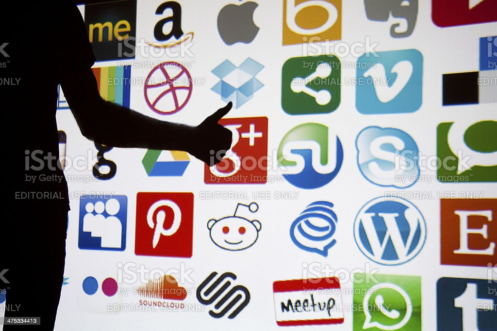 Social media and technology  thumbs up stock photo