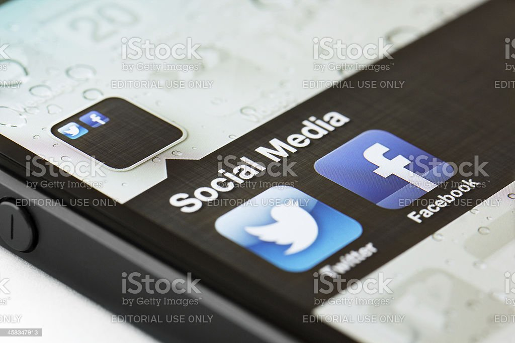Social Media app icons on a smart phone royalty-free stock photo