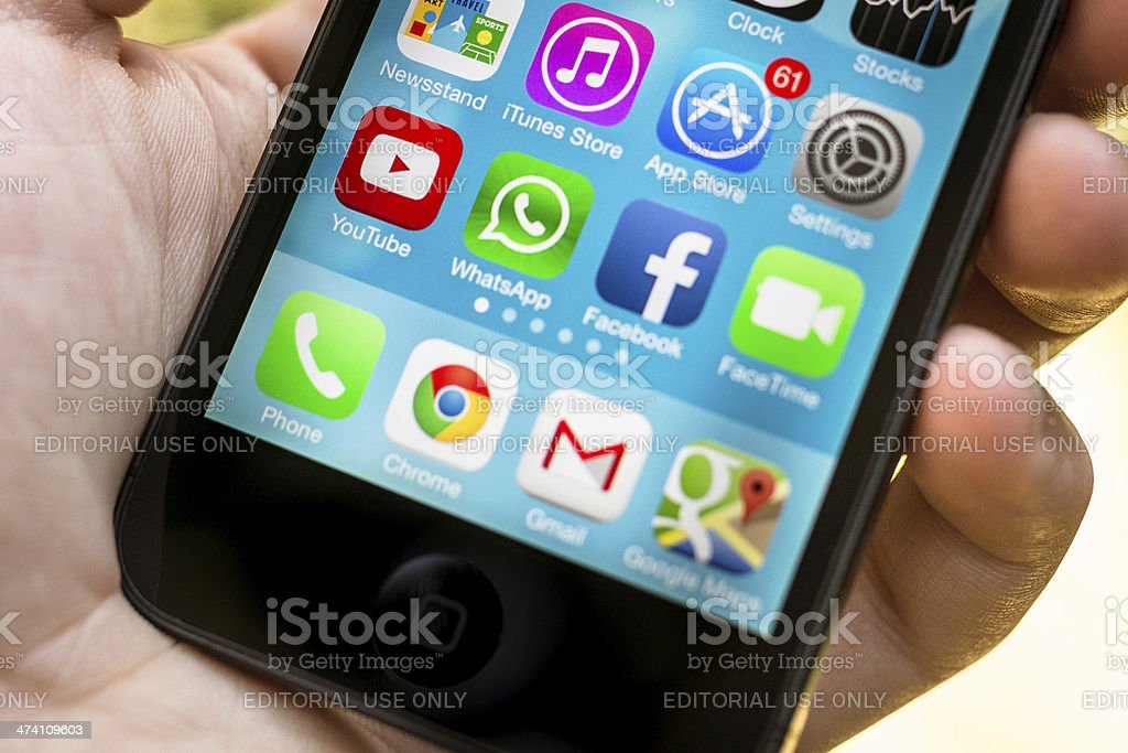 Social media app on the iphone 5 stock photo