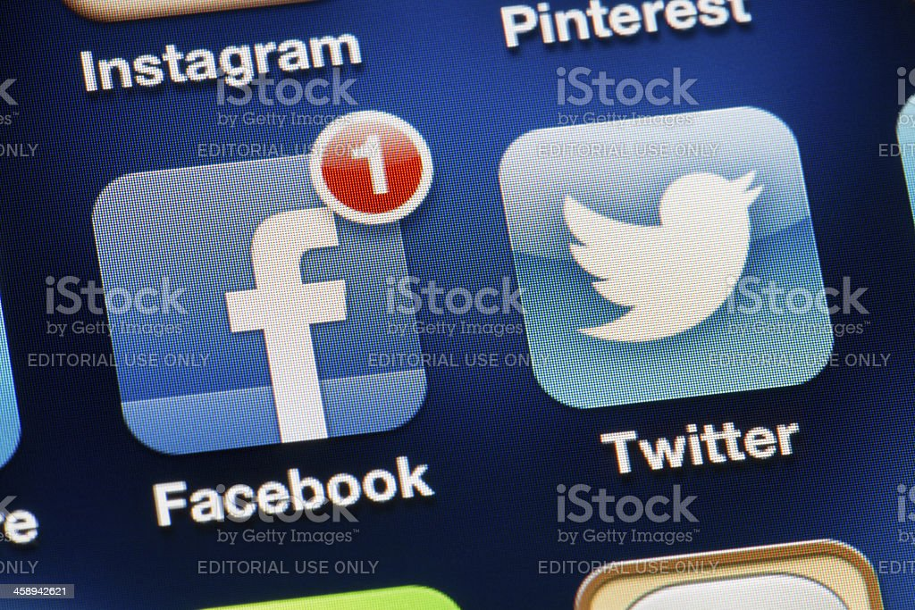 Social Media Applications - Facebook and Twitter stock photo