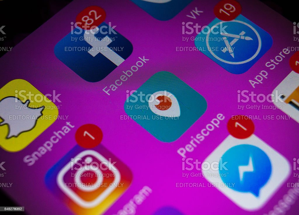 Social media applications icons with new Instagram icons stock photo