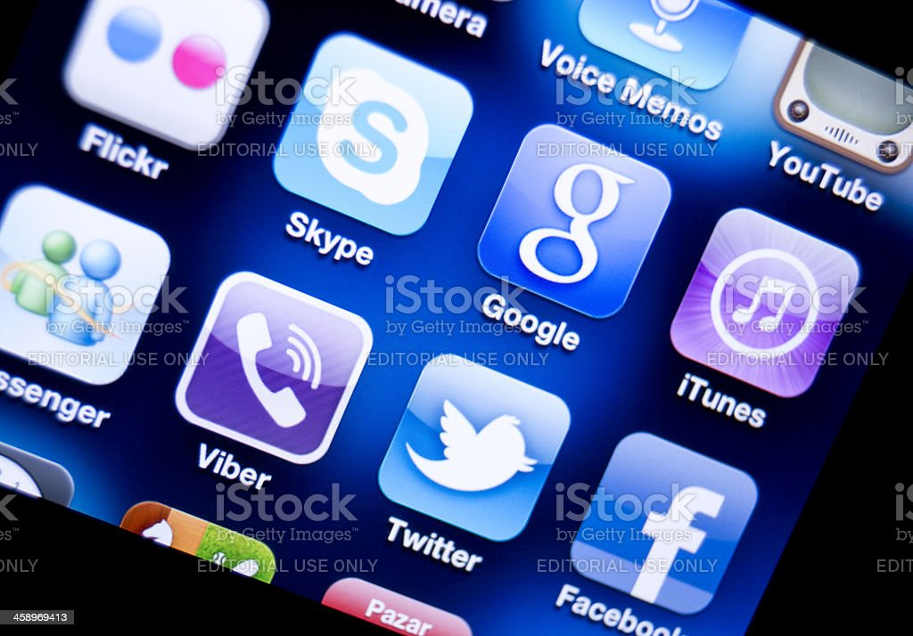 Social Media Applications on Apple Iphone royalty-free stock photo