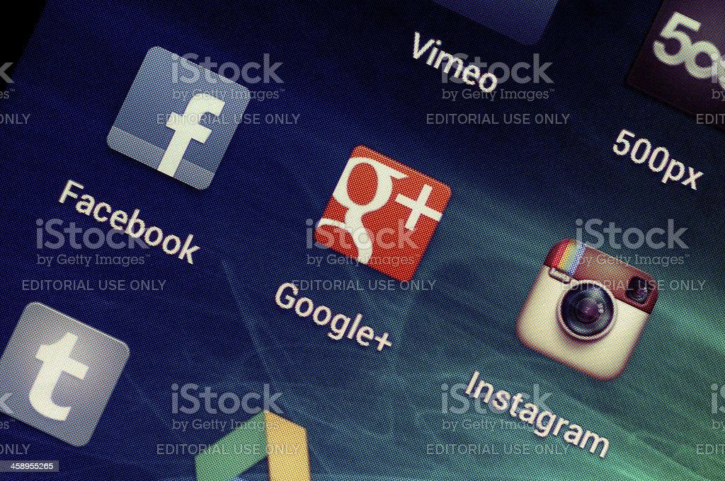 Social Media Applications on Google Samsung Galaxy Nexus royalty-free stock photo