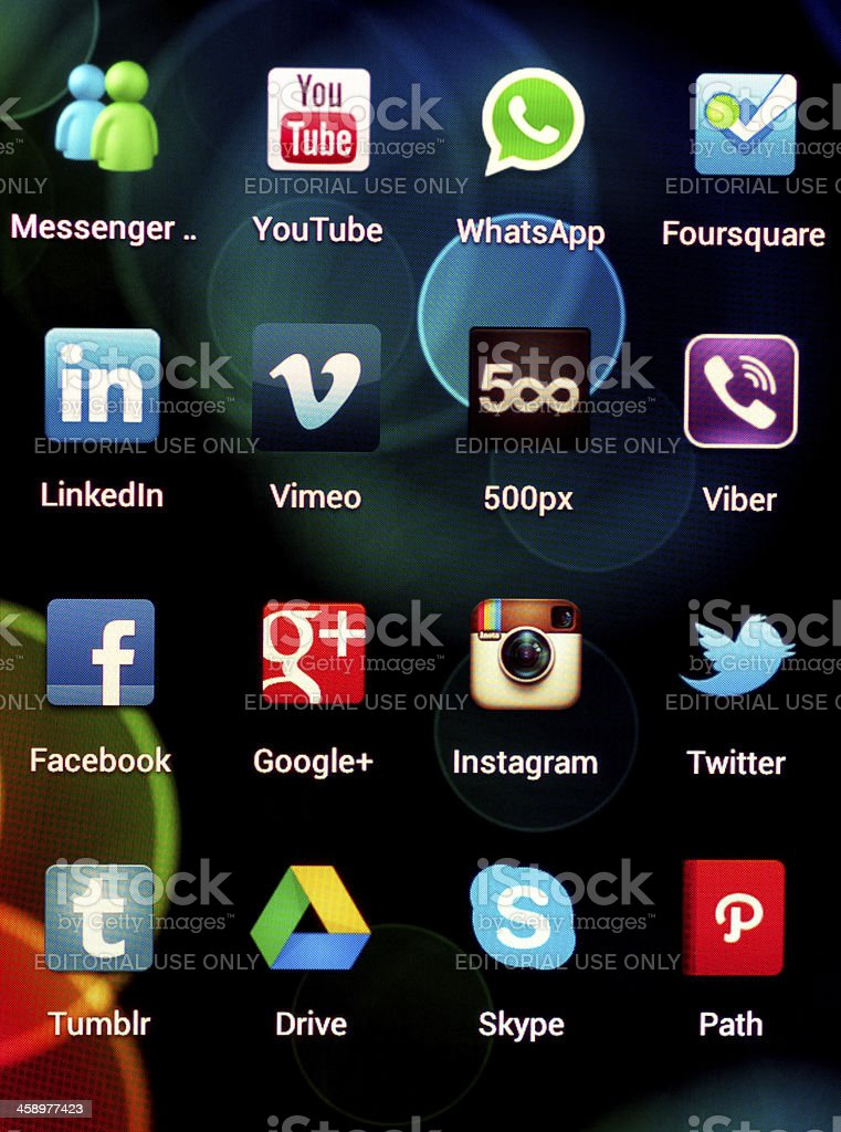 Social Media Applications on Google Samsung Galaxy Nexus royalty-free stock photo