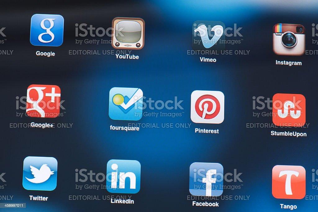 Social Media Applications on iPad screen royalty-free stock photo