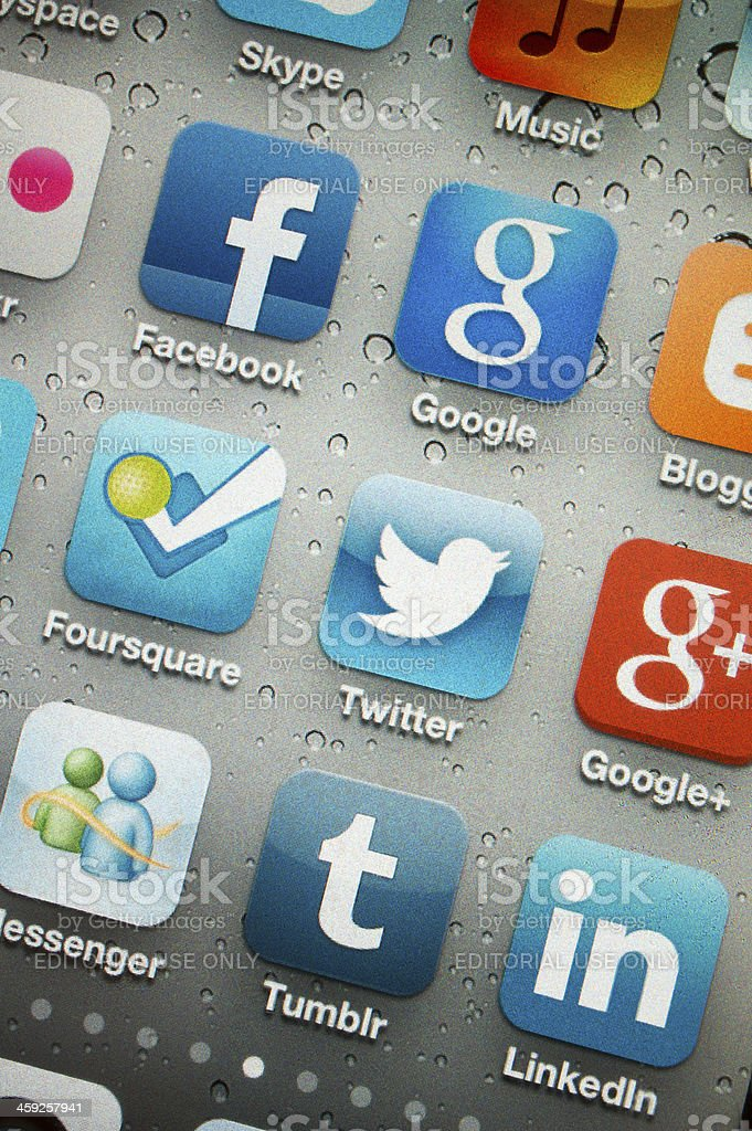 Social Media Applications on Iphone 4s royalty-free stock photo